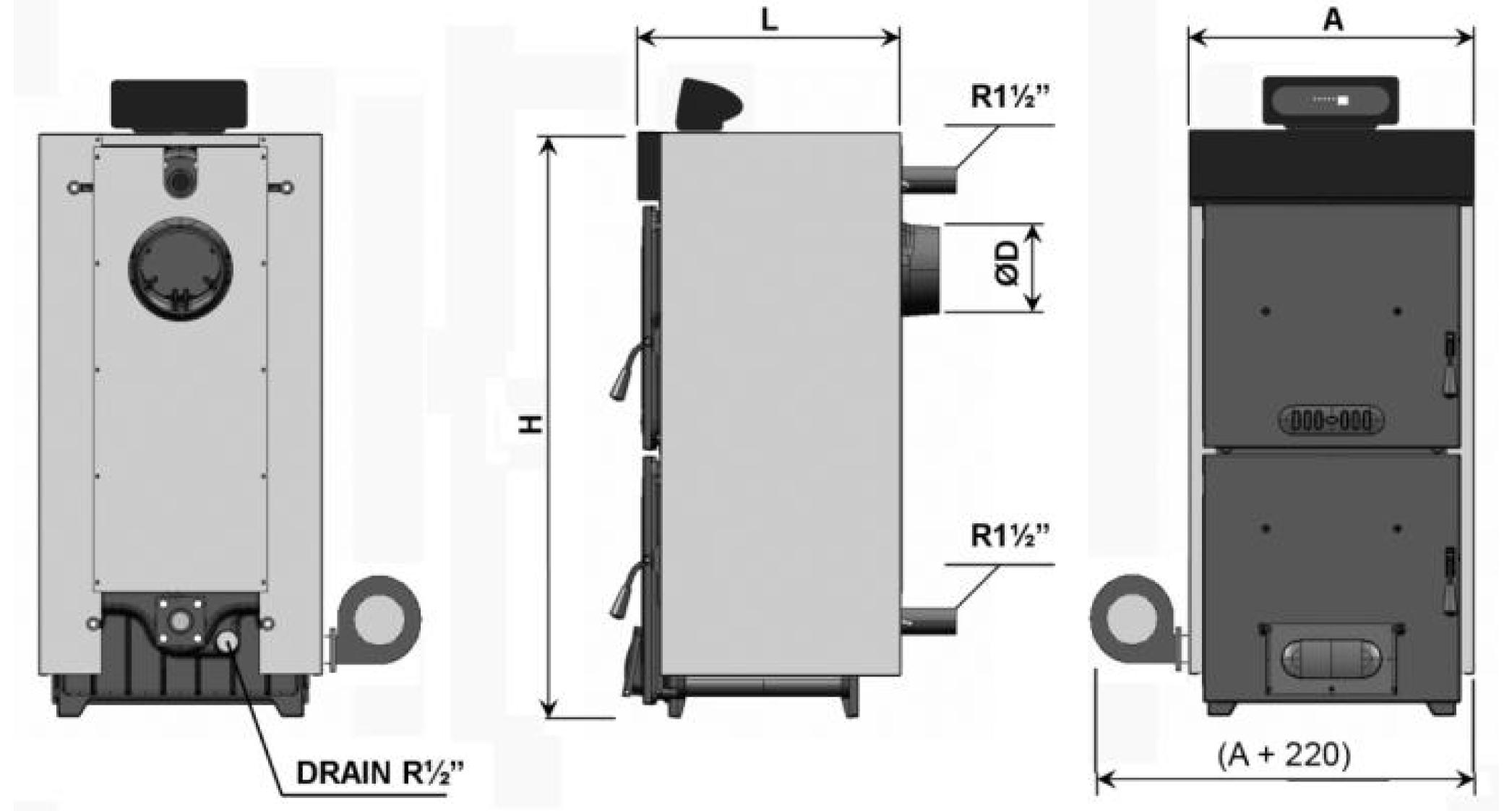 Схема твердотопливного котла Demrad Solitech Qvadra SolidMaster F