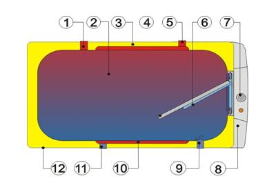 Разрез горизонтального бойлера косвенного нагрева воды Drazice OKCV 160 NTR