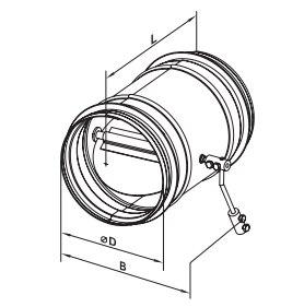габаритные размеры клапанов вентс КОМ1 круглых