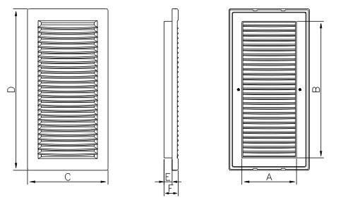 Размерный ряд DL/RW вентиляционной решетки