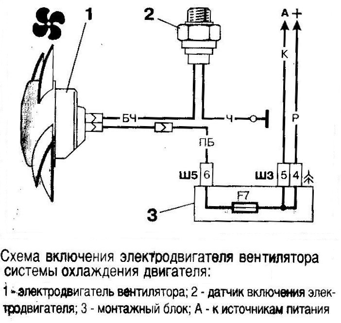 Схема подключение электровентилятора инжектора ваз